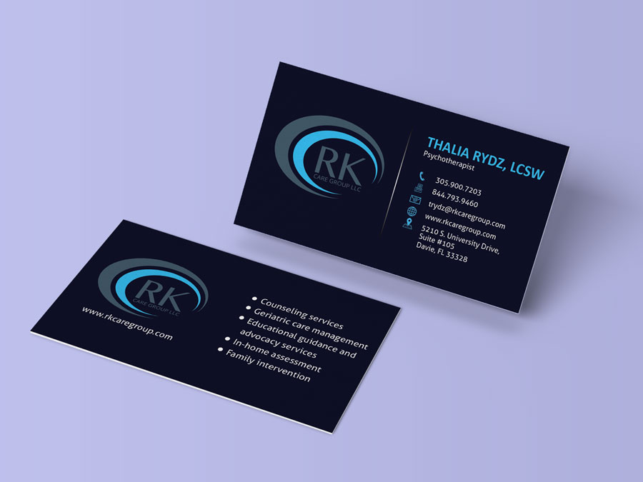 Business card rk care group amazing web logos design business card rk care group reheart Gallery